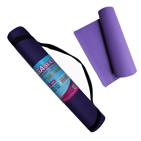 YGM504 Yoga Mat (4mm) (Blue/Purple With Strap)